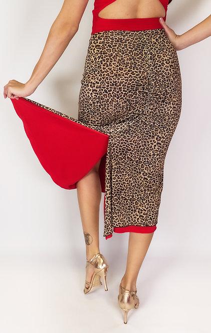 Adorable Cheetah - Animalic & Red Reversible Tango Skirt