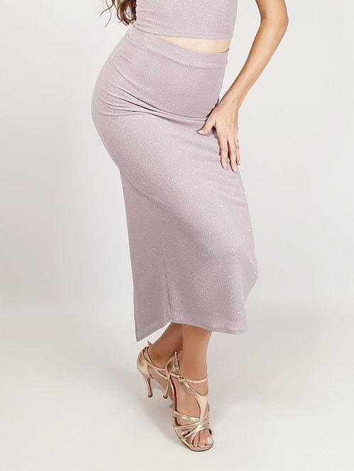 Megaera - Light Grey Shiny Tango Skirt