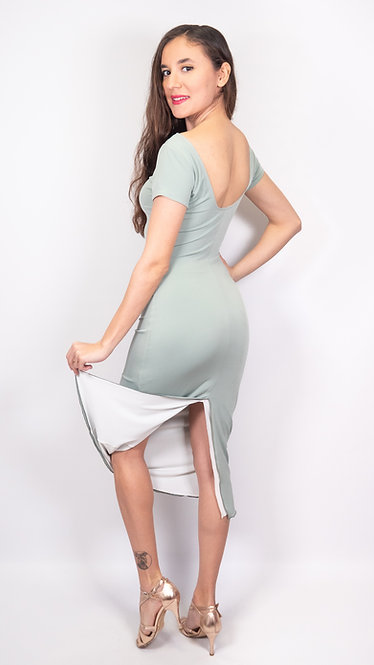 Angela Organic Green & White Reversible  Tango Dress