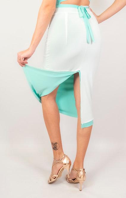 Stephanie White & Mint Green Reversible Classic Tango Skirt