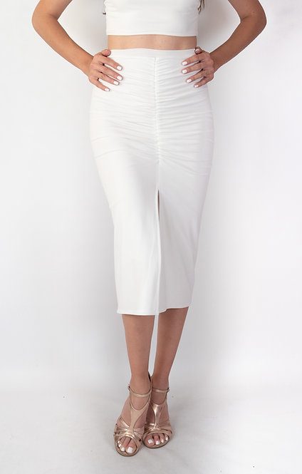Claire - White Ruched Tango Skirt