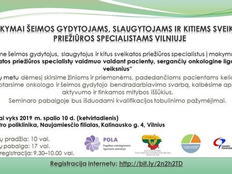 Mokymai Vilniuje spalio 10 d.