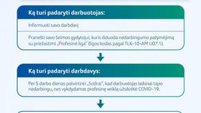SADM informuoja: Jei darbuotojas suserga COVID-19 liga vykdydamas profesinę veiklą