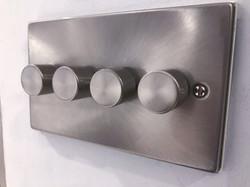Brushed nickel dimmer installed