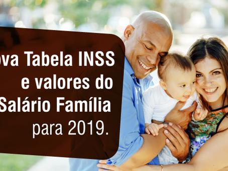 Nova Tabela INSS e valores do Salário Família para 2019.