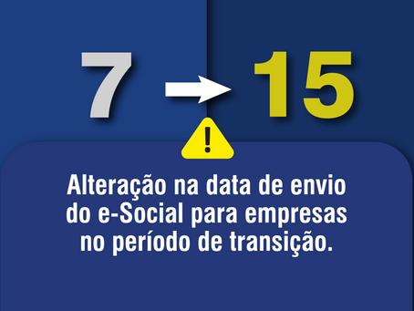 Alteração na data de envio  do E-Social para empresas no período de transição.