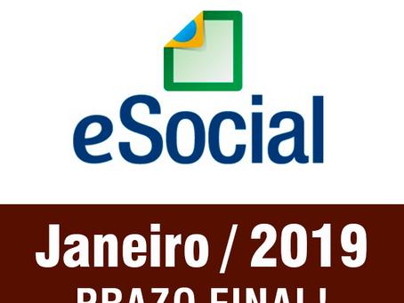 E-Social: Prazo final em Janeiro/2019!
