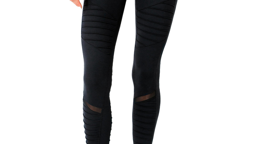 Ribbed Leggings With Hidden Pocket and Mesh Panels - Black