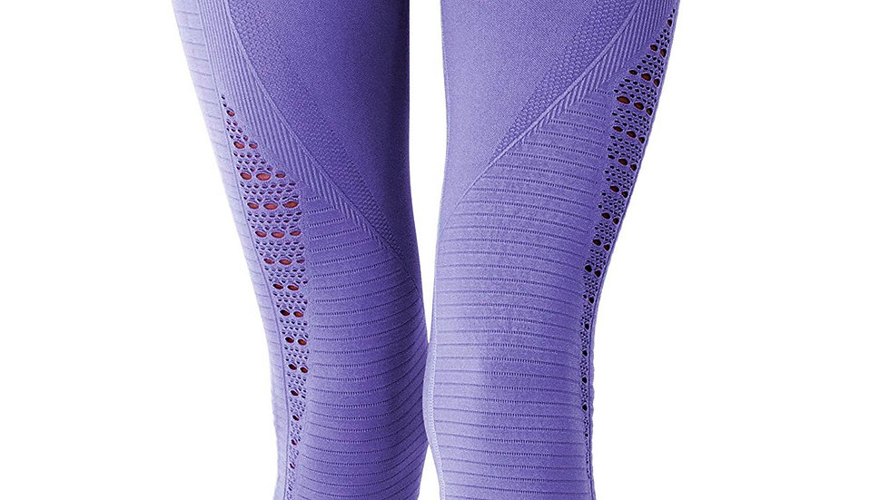 Mesh Seamless Legging With Ribbing Detail - Purple