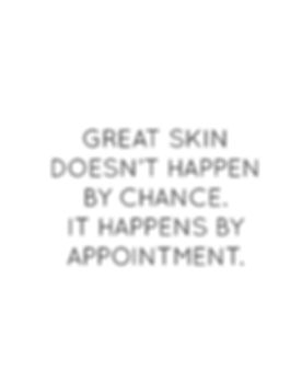Great Skin Doesn't Happen by Chance. It Happens By Appointment.