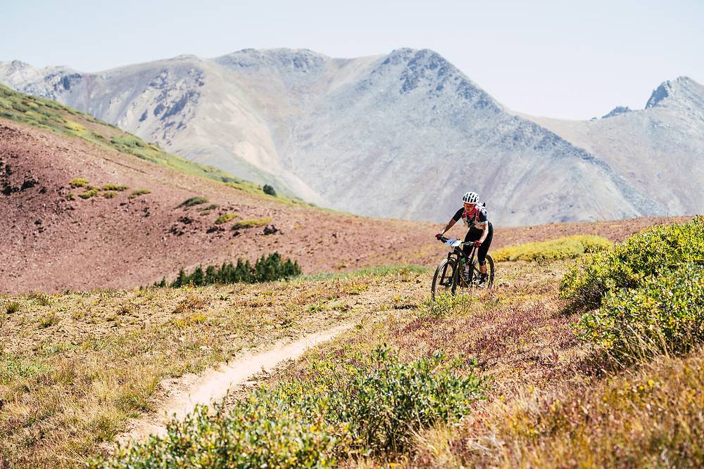 Talitha Vogt crests one of the high alpine passes in The Grand Travers, Sept 2020