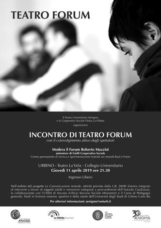 Incontro di Teatro Forum a Urbino con il coinvolgimento attivo degli spettatori