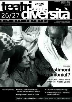Teatri delle diversità / n. 26/27