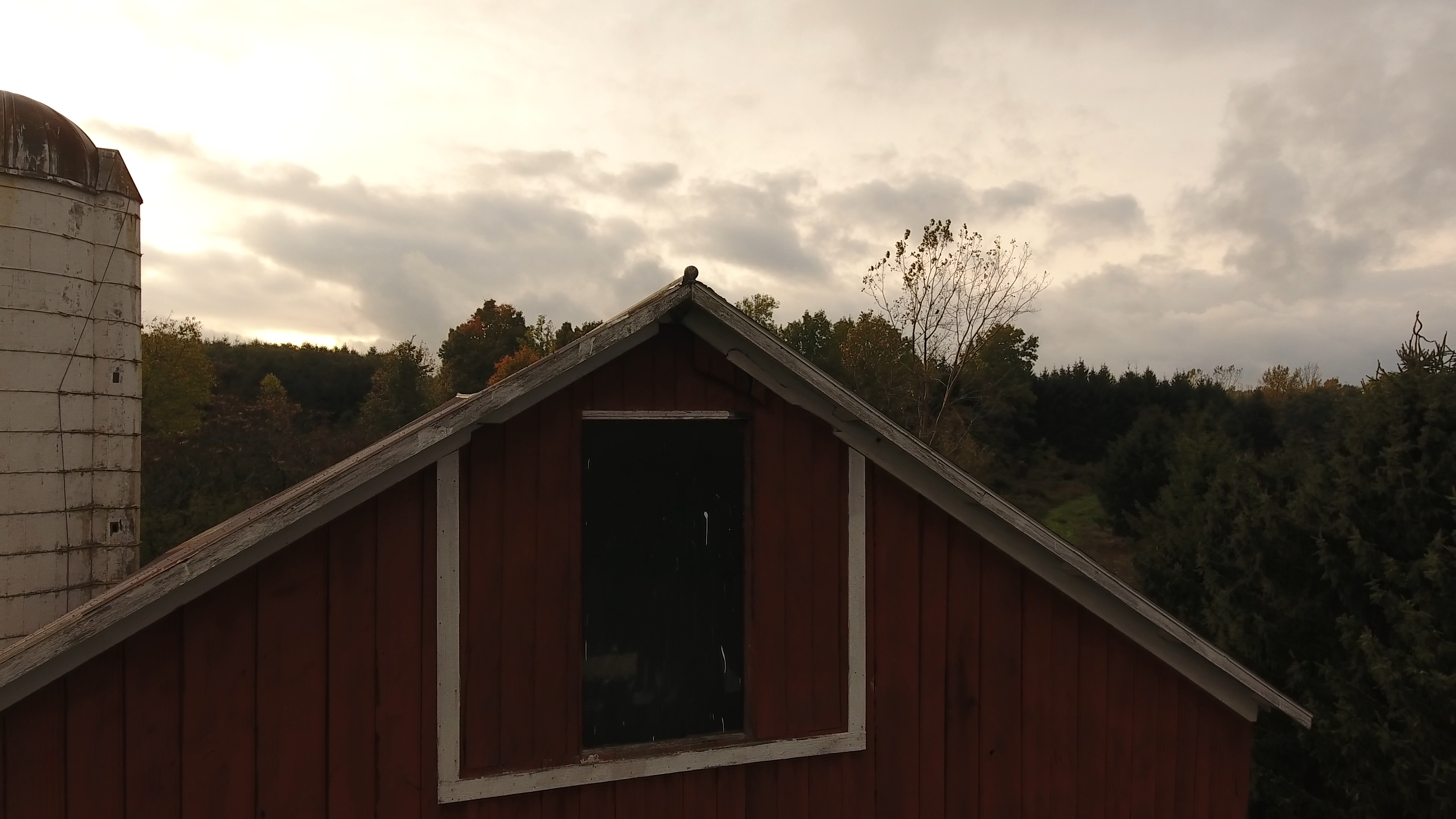 top of the barn and silo at sunset 10-20
