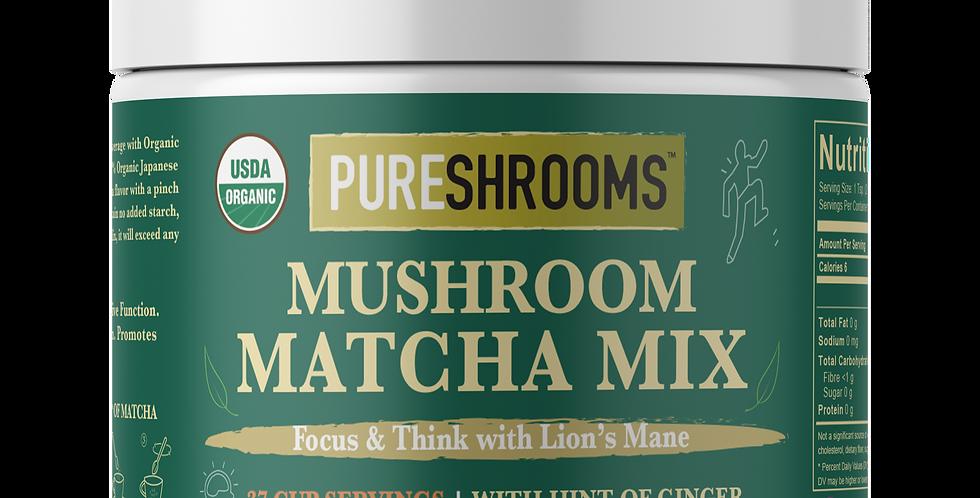 Organic Mushroom Matcha Green Tea Mix - Focus & Think with Lion's Mane Mushroom