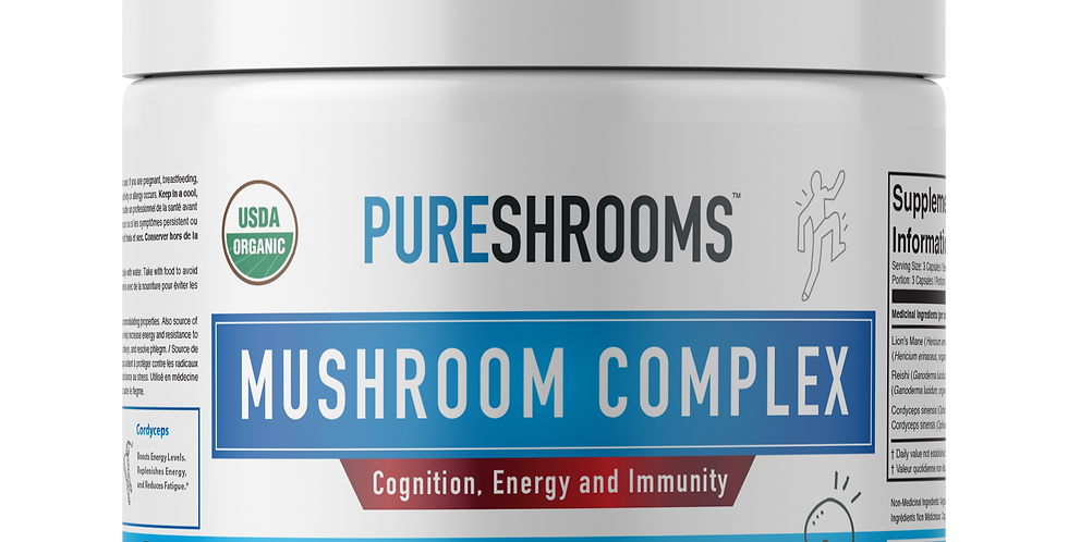 Mushroom Complex - Lion's Mane, Reishi & Cordyceps. Nootropic Brain Supplement.