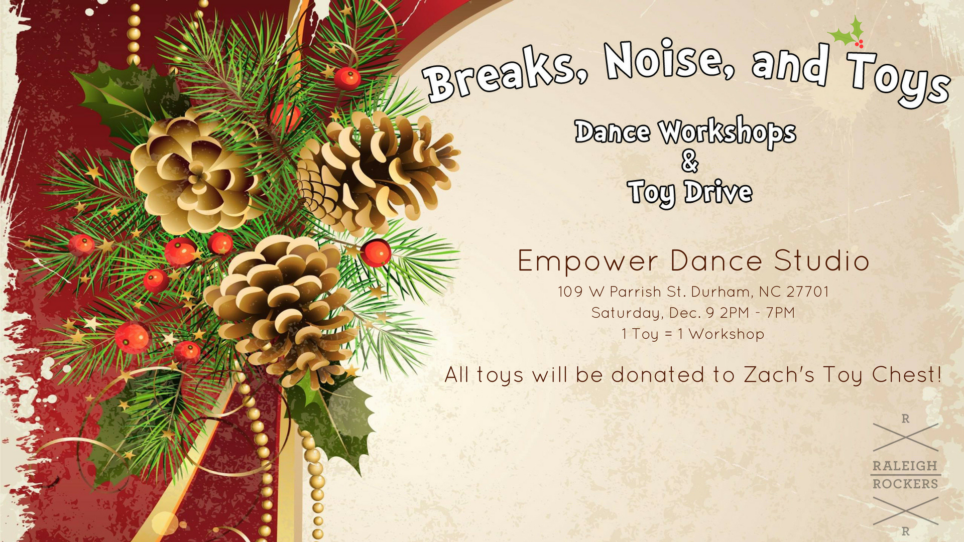 Dance for a Cause! Make a donation to the Toy Drive!