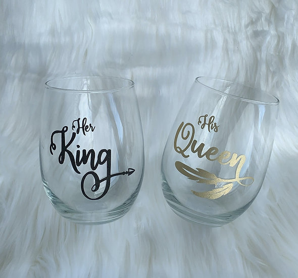 Wine tumbler set (His Queen & Her King)