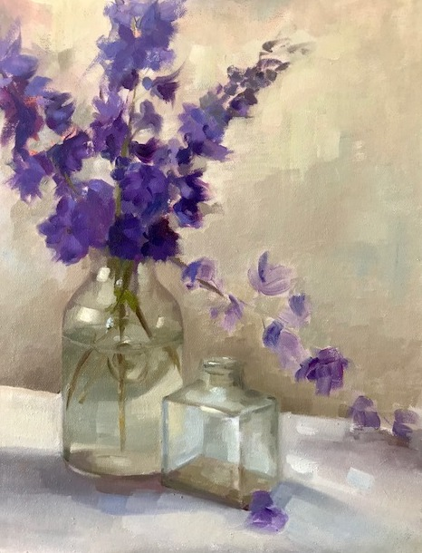 Blue Delphiniums & Glass