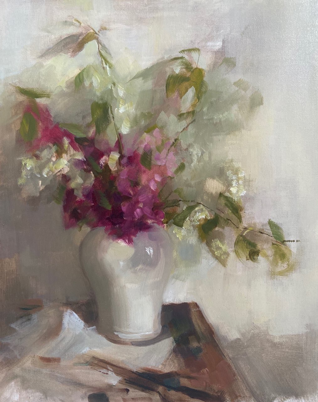 Lilacs and White Vase