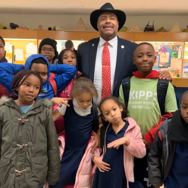 Boston Police Commissioner Gross and Roxbury YMCA  kids