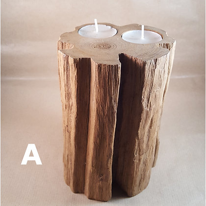 Medium Natural Wood Tealight Holder