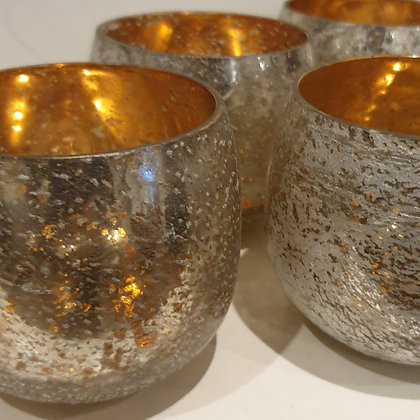 Silver Crackle Glass Tea Light Holders Pair