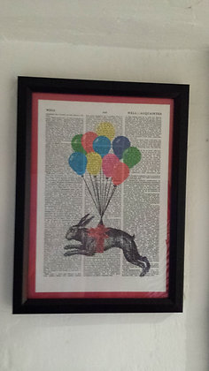 Flying Hare framed dictionary print