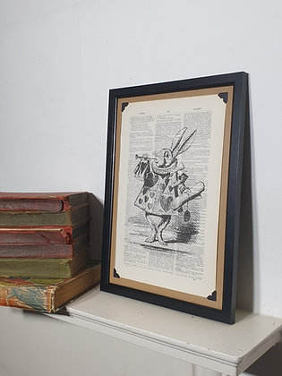 Alice White Rabbit Herald framed dictionary print
