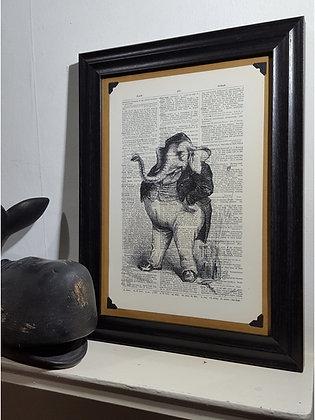 The Jolly Elephant Framed Dictionary Print