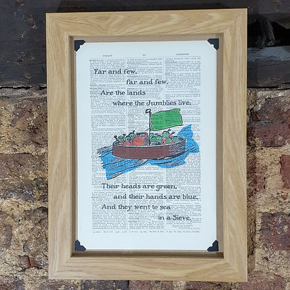 The Jumblies framed dictionary print