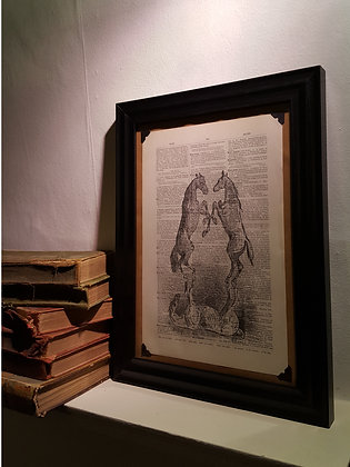 Prancing Horses Framed Dictionary Print