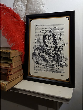 Singing Mad Hatter framed music print