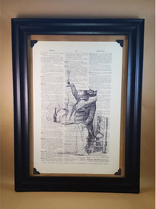 Feasting Hippo Framed Dictionary Print
