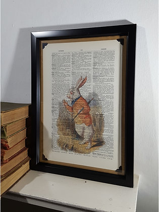 White Rabbit Colour Framed Dictionary Print
