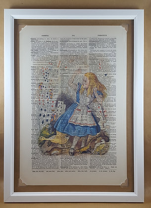 Alice and the Playing Cards framed dictionary print