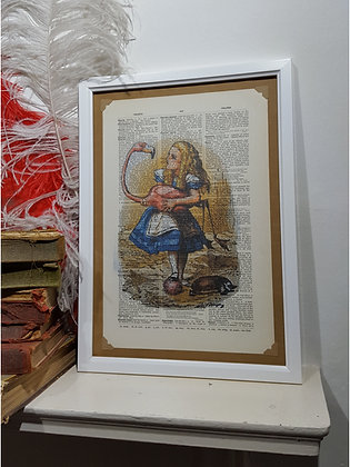 Alice with a Flamingo framed dictionary print