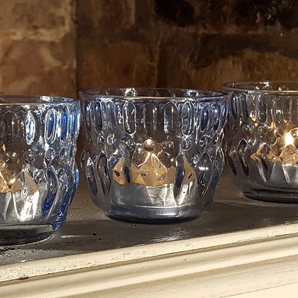 Blue Glass Tealight Holder Set of 3