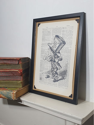 Mad Hatter framed dictionary print