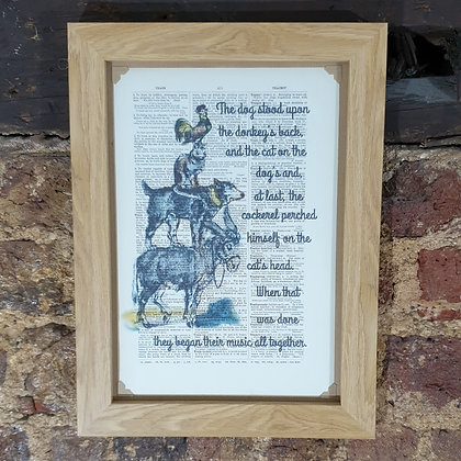 Bremen Town Musicians framed dictionary print