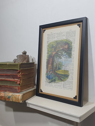 Alice and the Cheshire Cat framed dictionary print