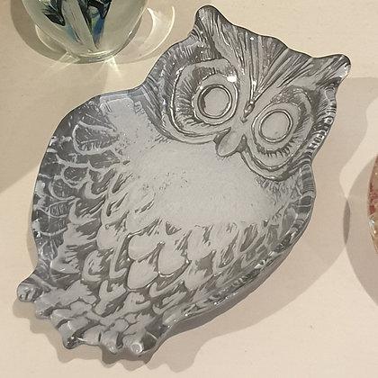 Glass Owl Trinket Dish