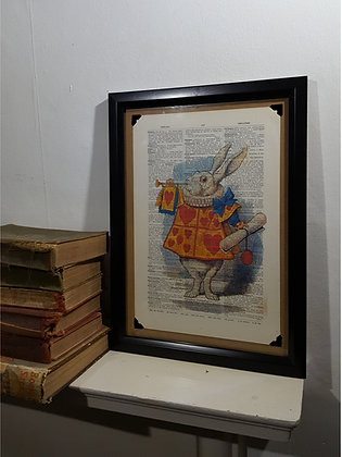 The White Rabbit Herald framed dictionary print