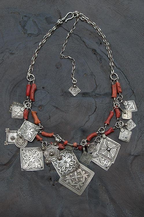 Antique Silver Moroccan Pendants & Antique Coral