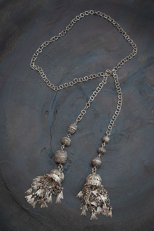 Yemen Silver Lariat Necklace