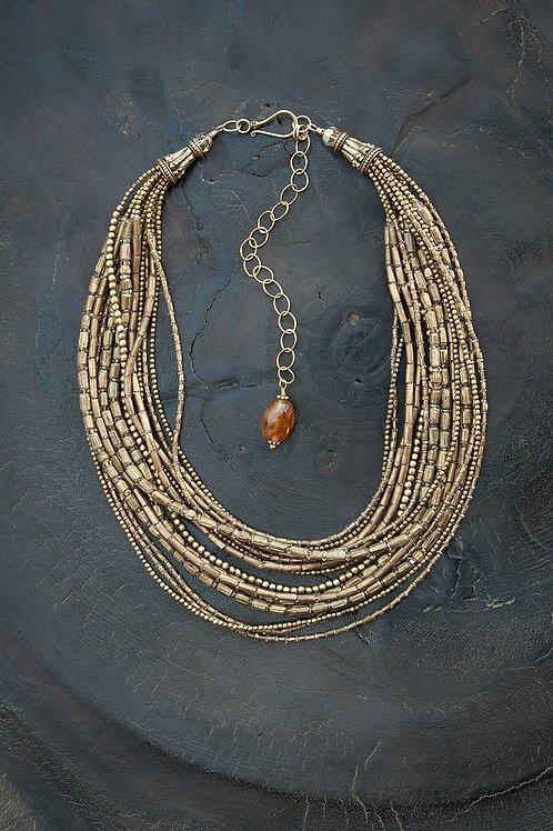Brass & Swarovski Crystal Statement Necklace
