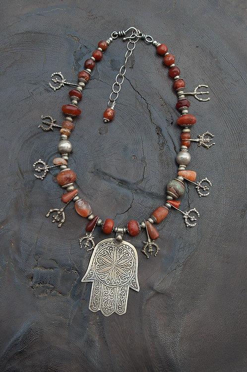 Ancient Carnelian, Berber Silver & Khamsa Pendant
