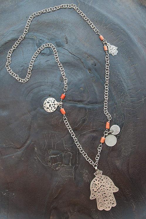 Tunisia Hamsa Amulet & Coral