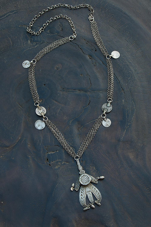 Moroccan Hamsa & Coin Necklace