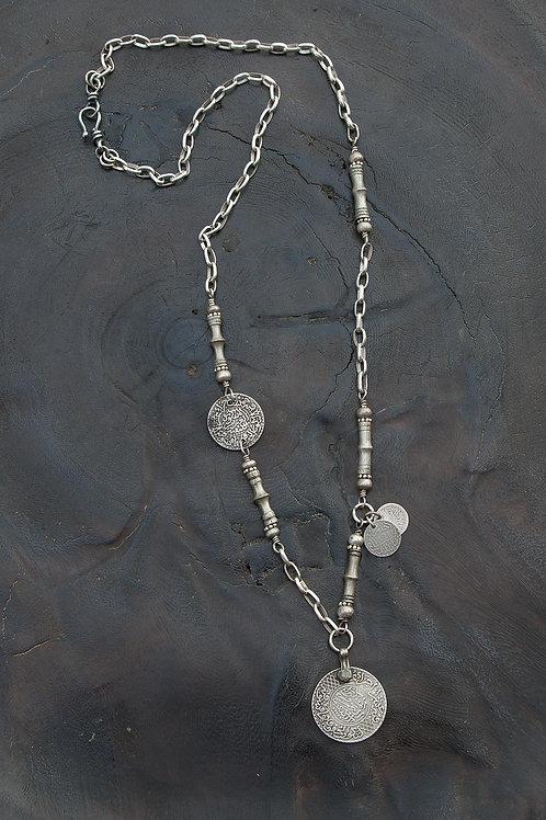 Ethnic Silver Tuareg & Moroccan Coin Necklace